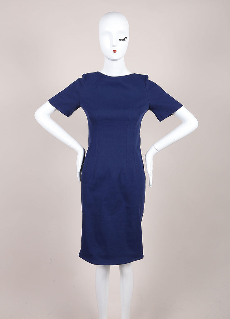 Lanvin Dark Blue Linen Woven Knit Short Sleeve Fitted Sheath Dress Frontview