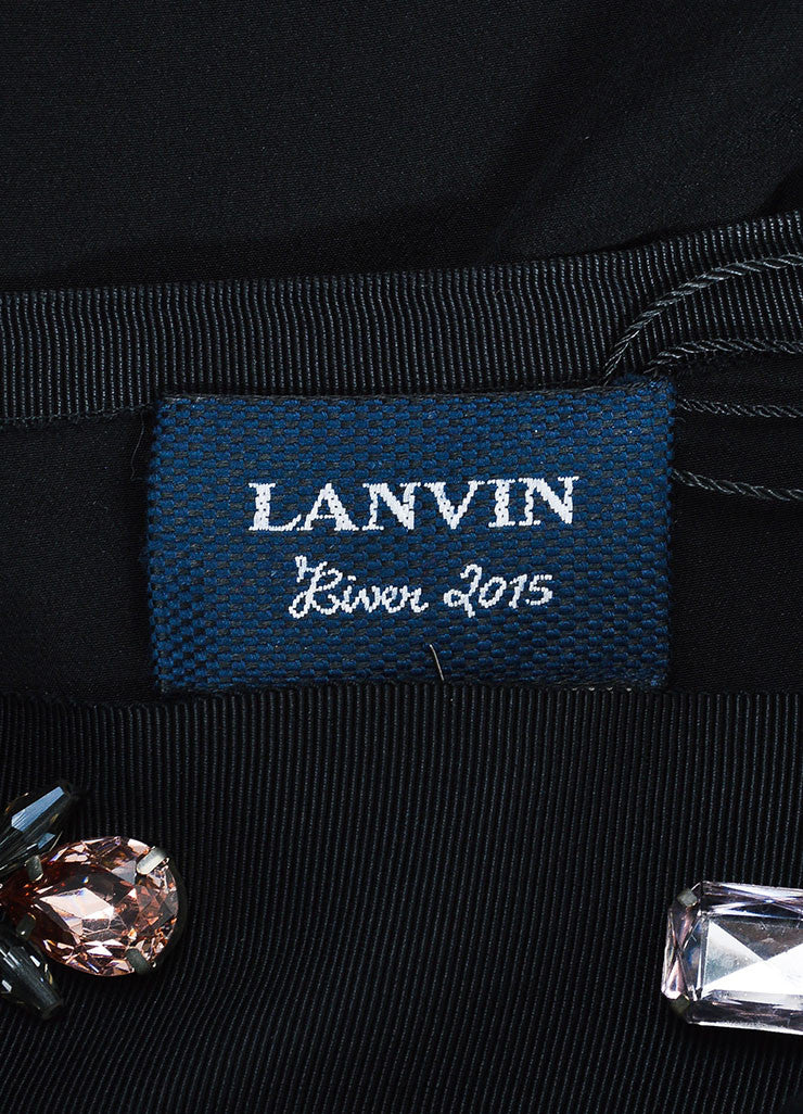 Black Lanvin Silk Ribbon Bejeweled Long Sleeve Blouse Brand