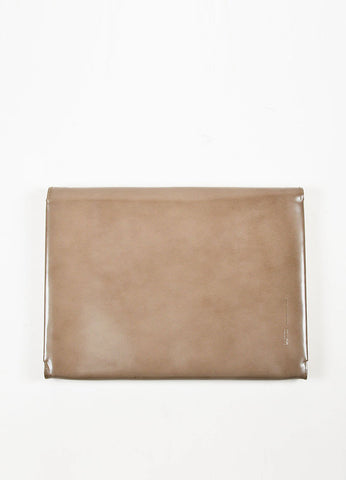 Lanvin Taupe Leather Fold Over Document Portfolio Clutch Frontview