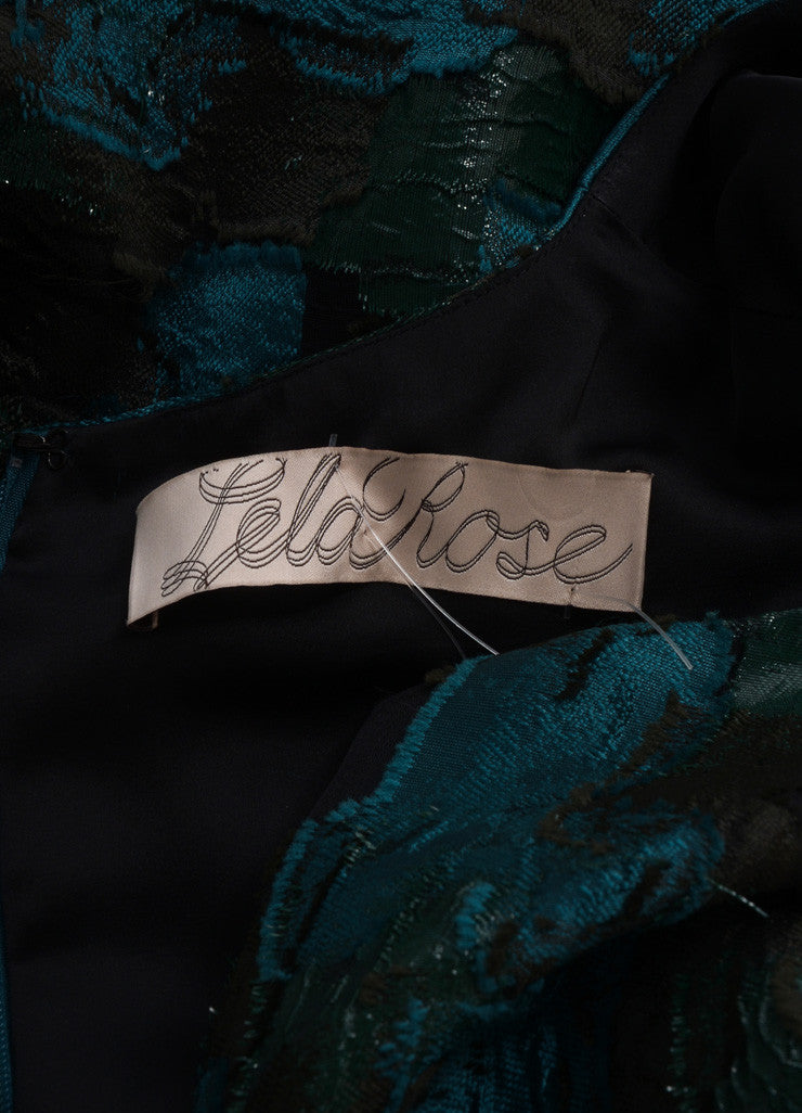 Lela Rose New With Tags Green and Black Silk Patchwork Sleeveless A-Line Dress Brand