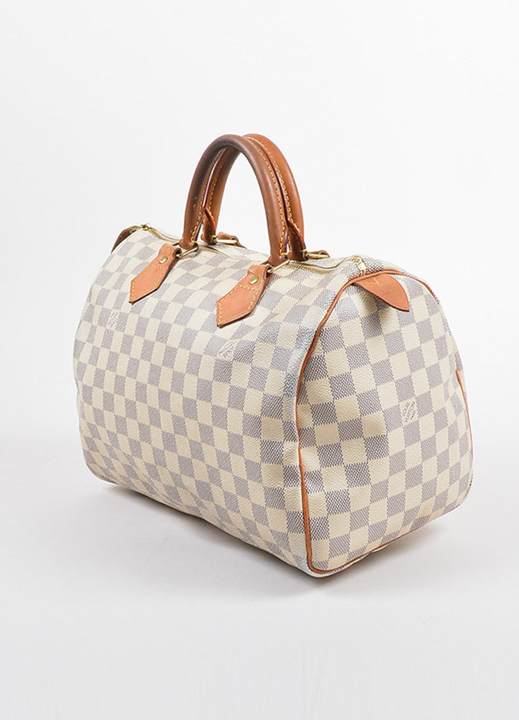 "Louis Vuitton White and Blue Coated Canvas Damier Azur ""Speedy 30"" Satchel Bag Sideview"