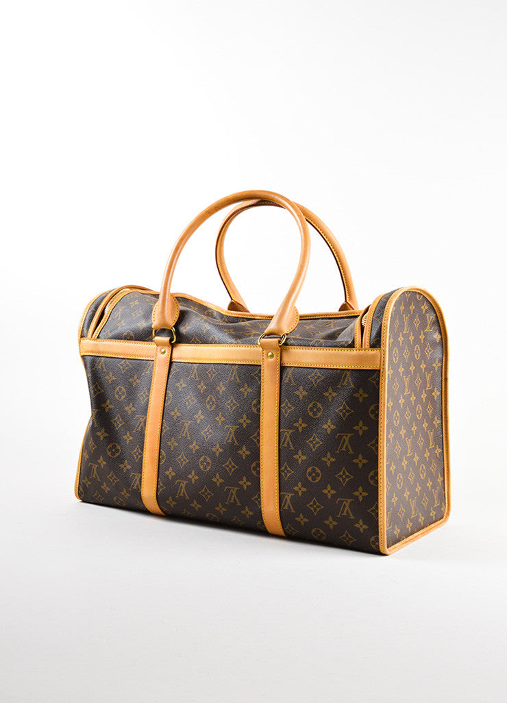 "Louis Vuitton Brown and Tan Coated Canvas and Leather Monogram Logo ""Dog Carrier 50"" Bag Backview"