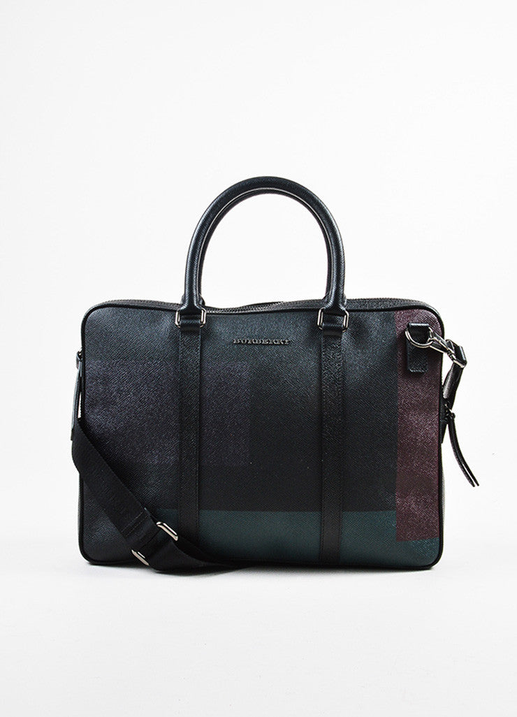 Men's Burberry Black, Green, and Red Coated Canvas and Leather Removable Strap Briefcase Frontview