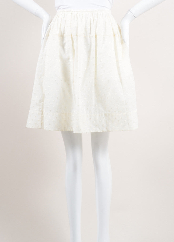 Marc Jacobs New With Tags Cream Cotton Eyelet Knee Length Yoked Skirt Frontview