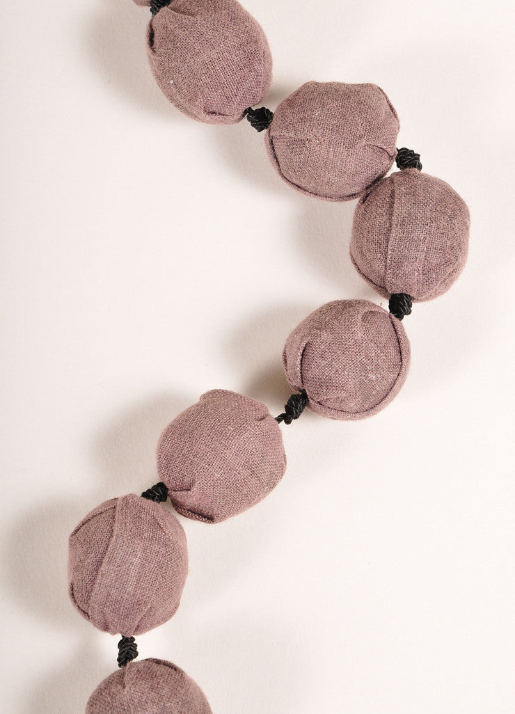 Marni Brown and Black Cloth Covered Ball Bead Gradated Long Necklace Detail