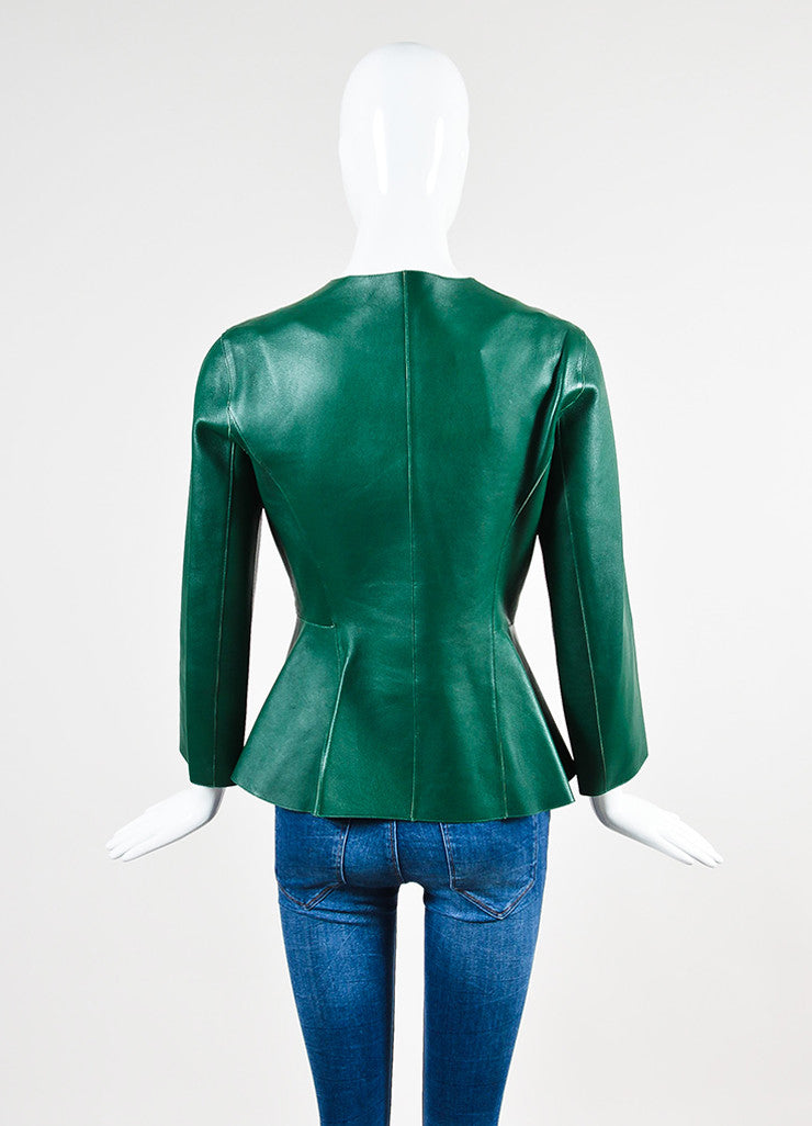 Marni Green Leather Peplum Jacket Backview
