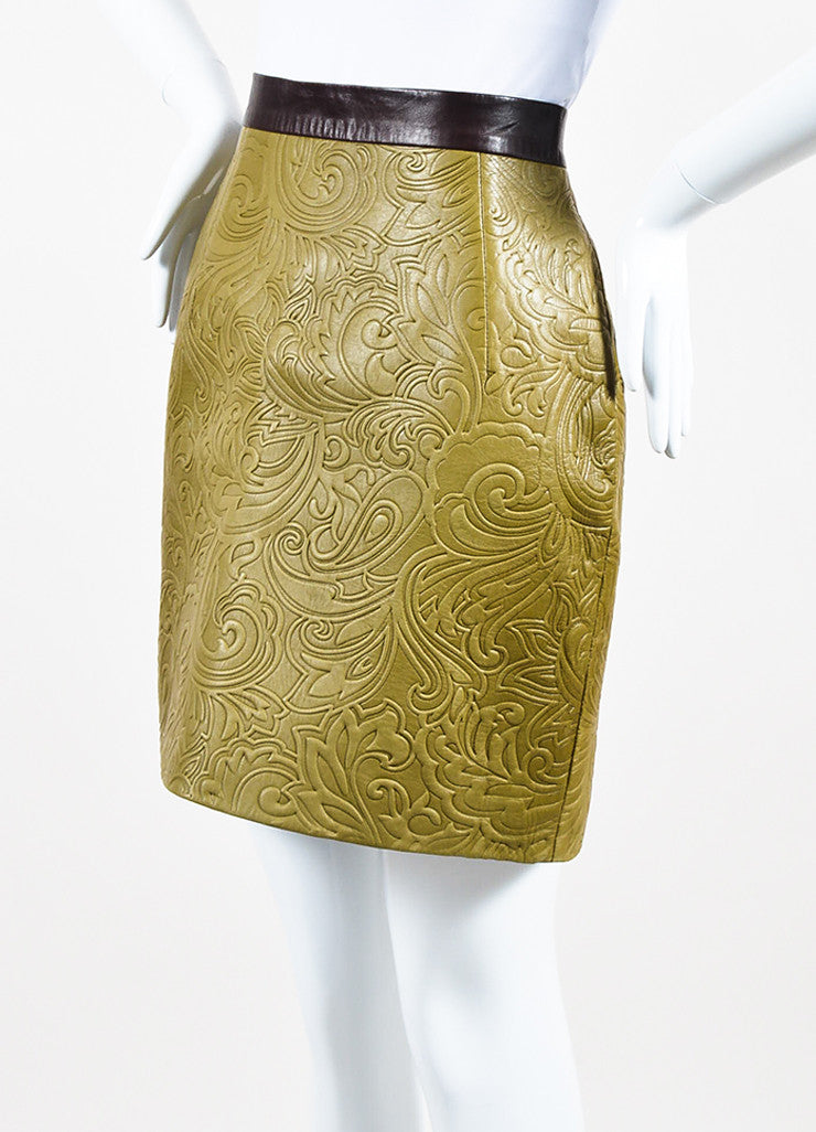 Mary Katrantzou Olive Green and Brown Leather Embossed Mini Skirt Sideview