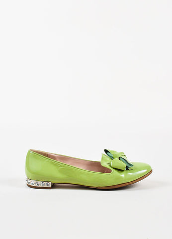Miu Miu Light Green Patent Leather Bow Bejeweled Smoking Slippers Side