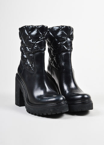 Moncler Black Leather Down Quilted Chunky Heel Puffer Mid Calf Boots Frontview
