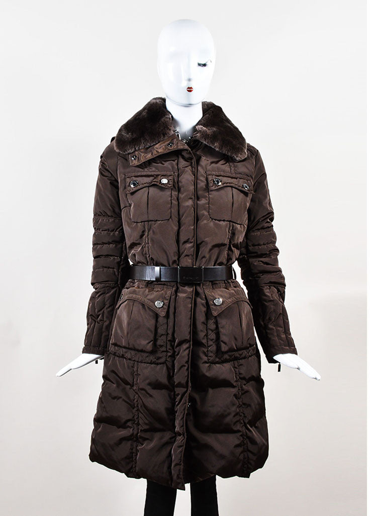 Brown Moncler Belted Down Filled Removable Fur Trim Puffer Coat Frontview