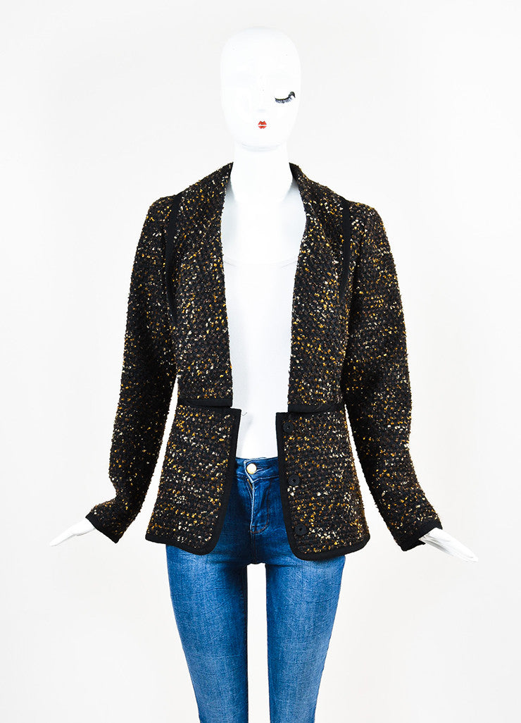Black, Brown and Gold Oscar de la Renta Woven Tweed Jacket Front