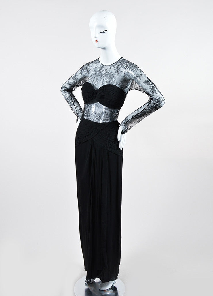 Black Oscar de la Renta Floral Lace Sheer Sleeve Cut Out Gown Sideview