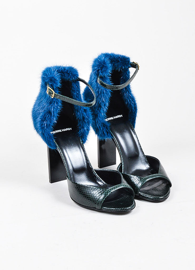 Dark Green and Blue Pierre Hardy Snakeskin Mink Fur Ankle Sandals Frontview