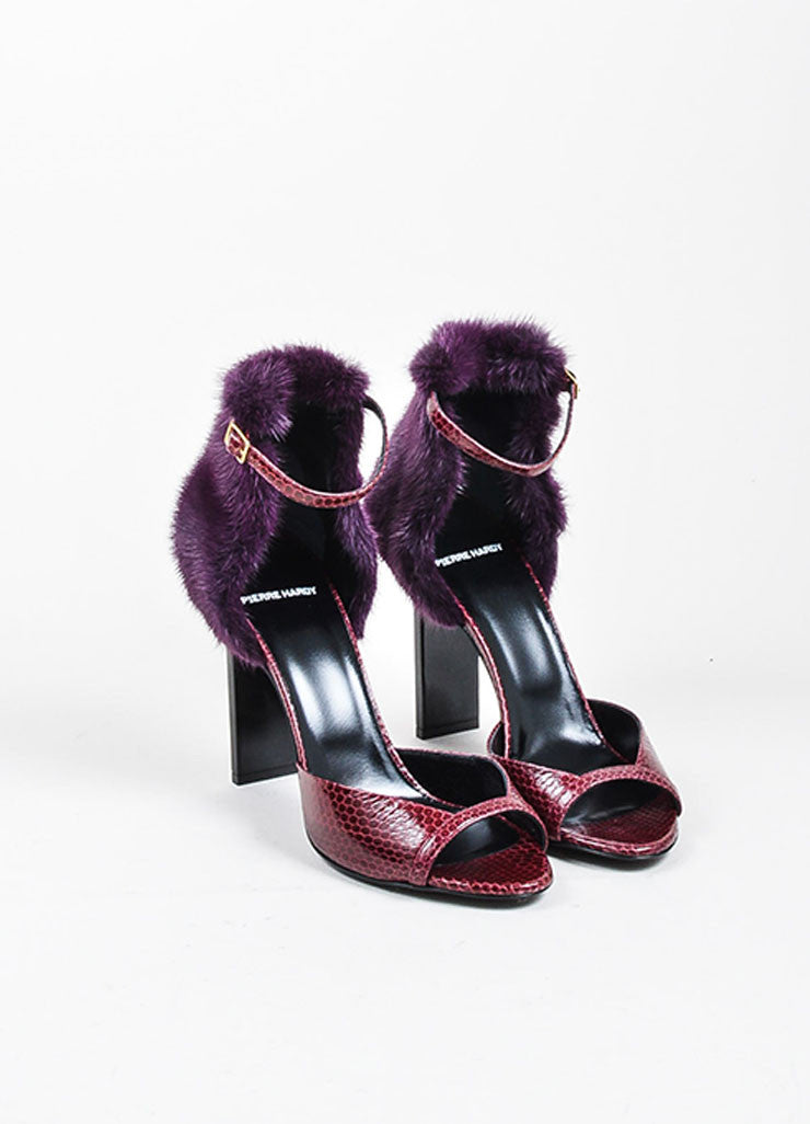 Burgundy and Purple Pierre Hardy Snakeskin and Mink Fur Ankle Sandals Frontview