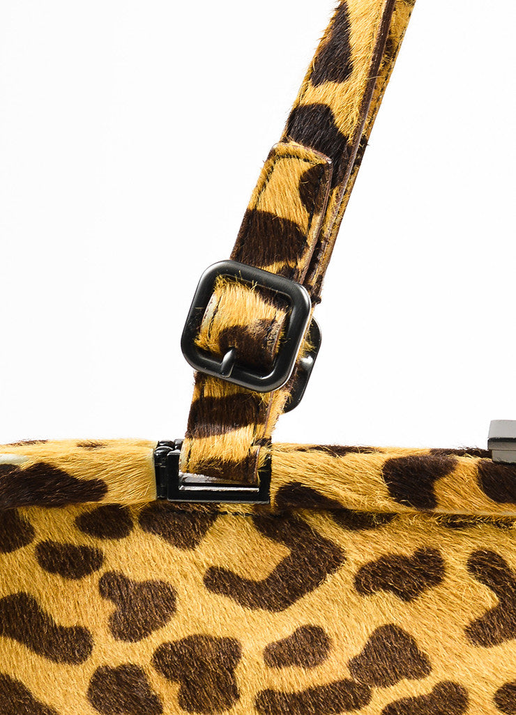 Prada Brown Tan Prada Leopard Print Pony Hair Top Handle Frame Bag Detail 3