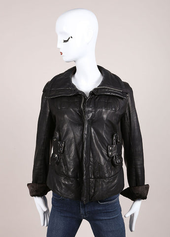 Rick Owens Black Leather Zip Jacket Frontview