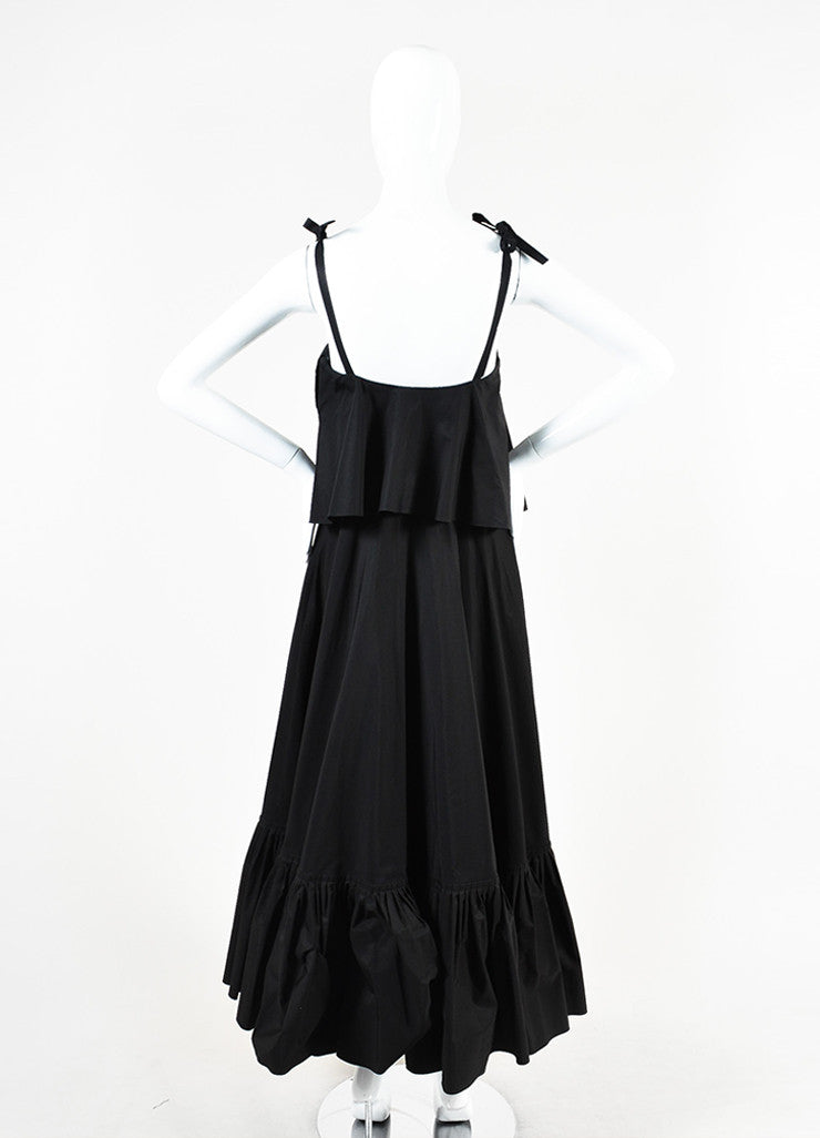Salvatore Ferragamo Black Cotton Ruffled Sleeveless Maxi Dress Backview