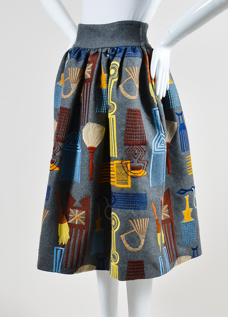 "Grey and Multicolor Stella Jean Wool Embroidered ""Lancaster"" Skirt Sideview"