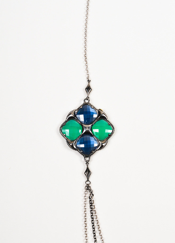 Tacori  Sterling Silver Green Blue Onyx Hematite Pendant Necklace Detail 2