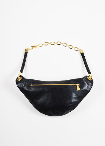 Bottega Veneta Black Leather and Gold Toned Metal Fanny Pack Hip Bag Frontview 2