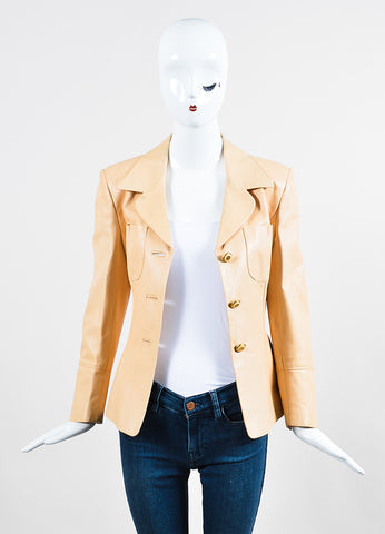 Beige Nude Celine Lambskin Leather Buttoned Blazer Jacket Frontview