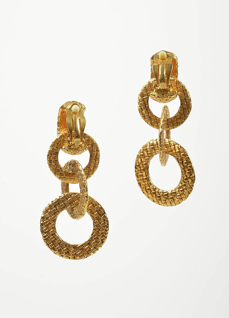 "Gold Toned Woven Chanel 'CC' ""Day to Night"" Convertible Clip On Earrings Backview"