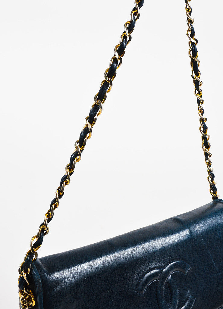 Chanel Navy Blue Leather 'CC' Flap Chain Strap Quilted Tassel Bag Detail 2