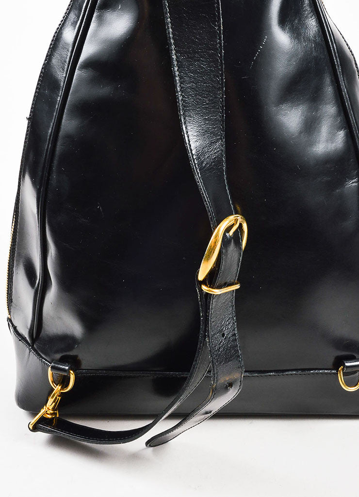 Black Patent Leather and Bamboo Accent Sling Backpack Detail 2