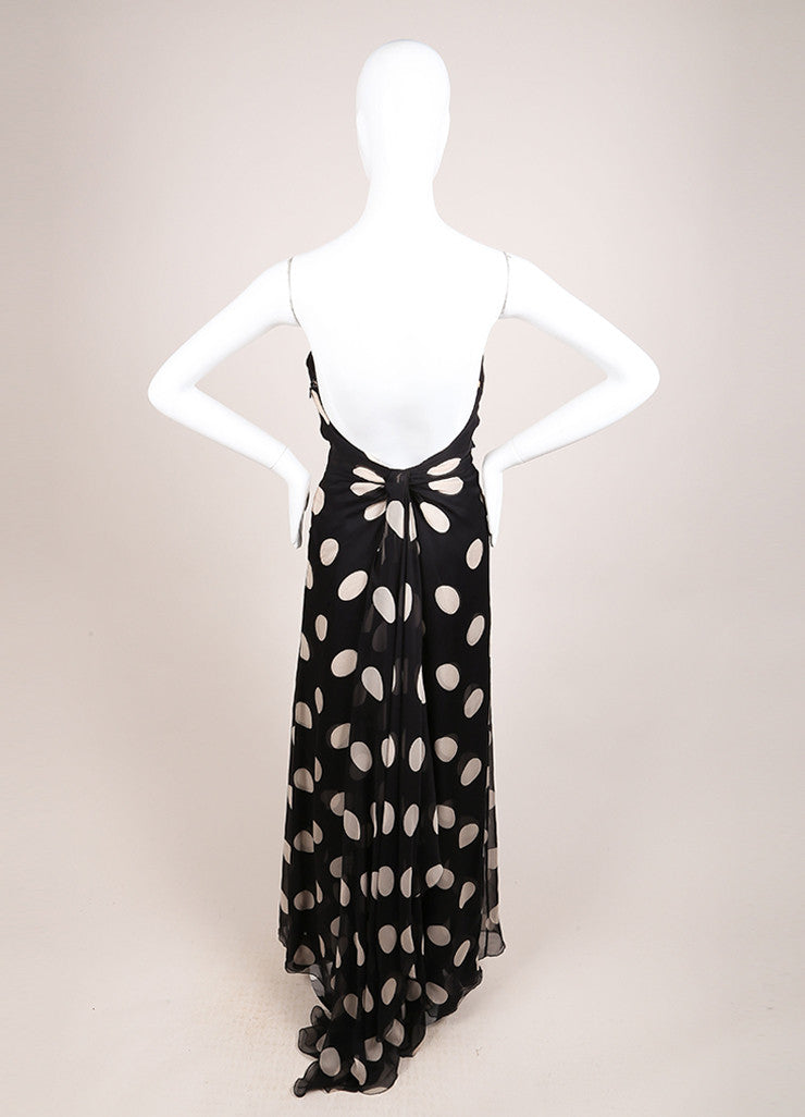 Valentino Black and Beige Chiffon Polka Dot Draped Strapless Gown Backview