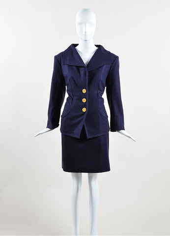 Yves Saint Laurent Navy Wool Jacket and Pencil Skirt Suit Frontview