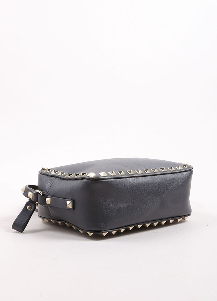 "Valentino Grey and Gold Toned Leather ""Rockstud"" Crossbody Bag Bottom View"