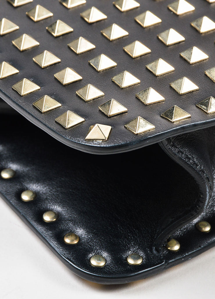 "Valentino Noir Black Leather Pyramid Studded ""Rockstud"" Frame Handbag Detail"