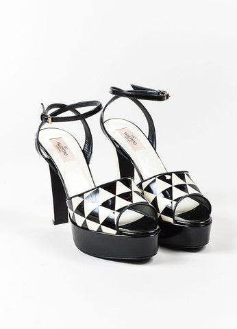 "Black and Cream Valentino Patent Geometric Platform ""Domino"" Sandals Frontview"