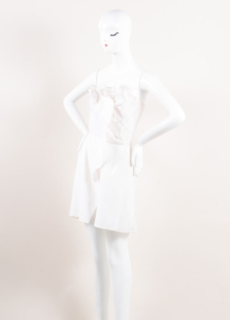 Valentino New With Tags Cream Ruffled Strapless Mini Sheath Dress Sideview