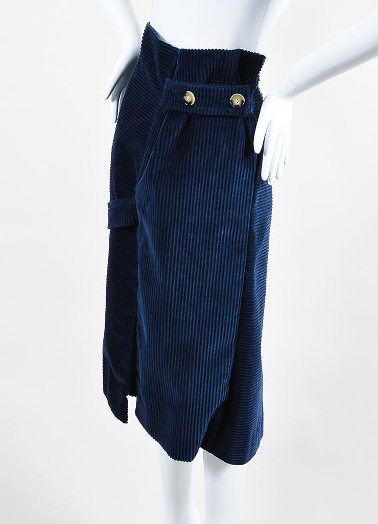 Navy Victoria Beckham Corduroy Belted Asymmetric Midi Skirt Sideview