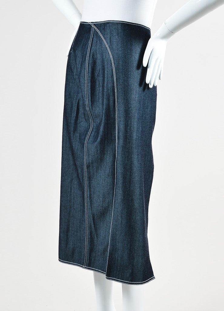 Wes Gordon Dark Blue and White Denim Stitched Dual Slit Midi Skirt Sideview