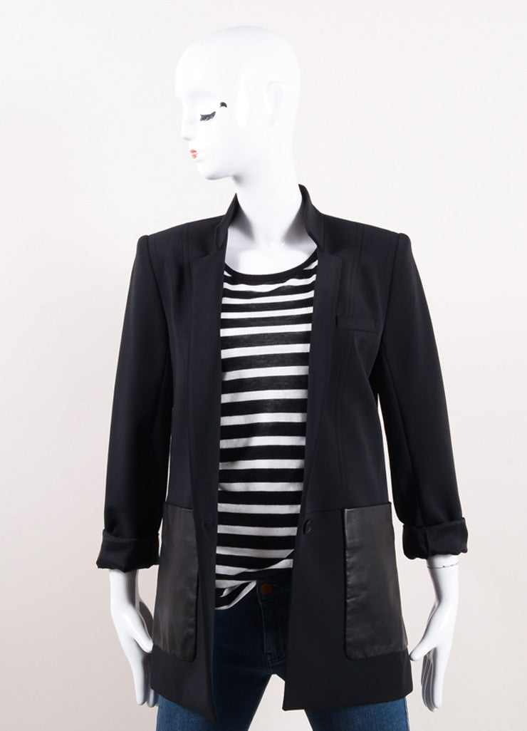 Yigal Azrouel Black Cotton and Leather Tailored Jacket Frontview