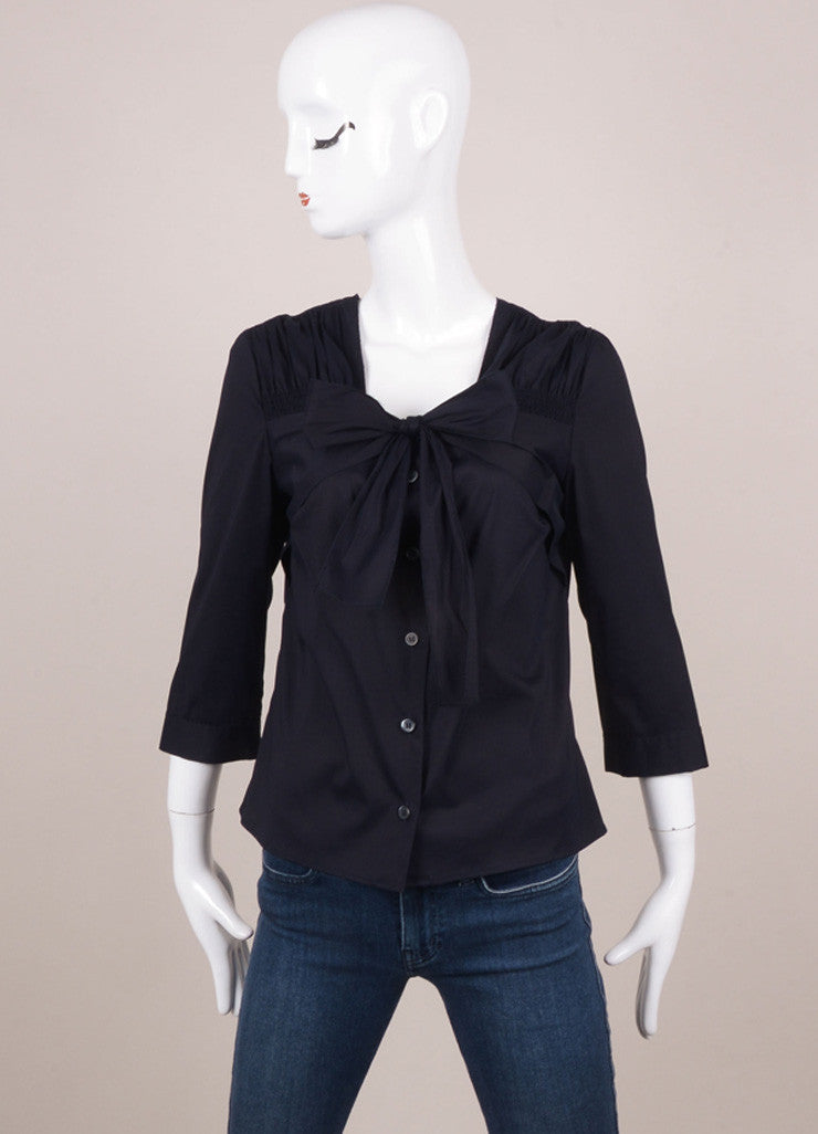 Navy Cotton Tie Front Buttoned Three Quarter Sleeve Ruched Blouse