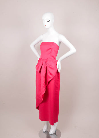 Pink Strapless Evening Gown With Large Front Bow