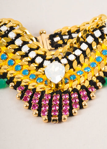 "Akong London New Multicolor Embellished Midnight Tropic ""V"" Bracelet Detail"