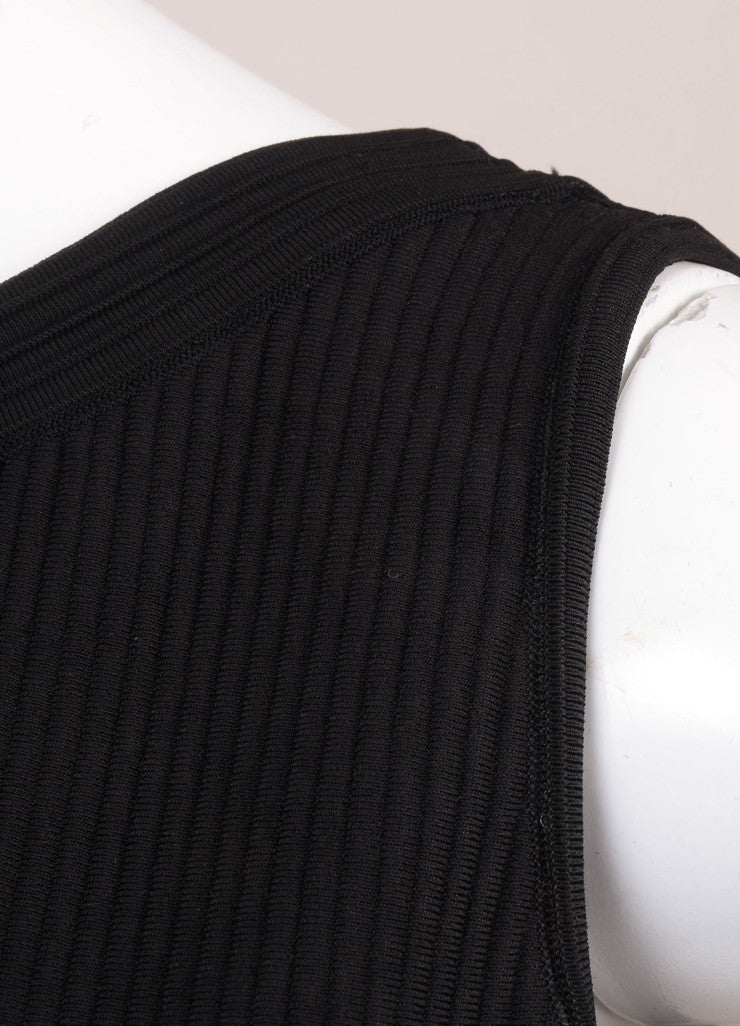 Alaia Black Knit Ribbed Sleeveless Bodycon Dress Detail