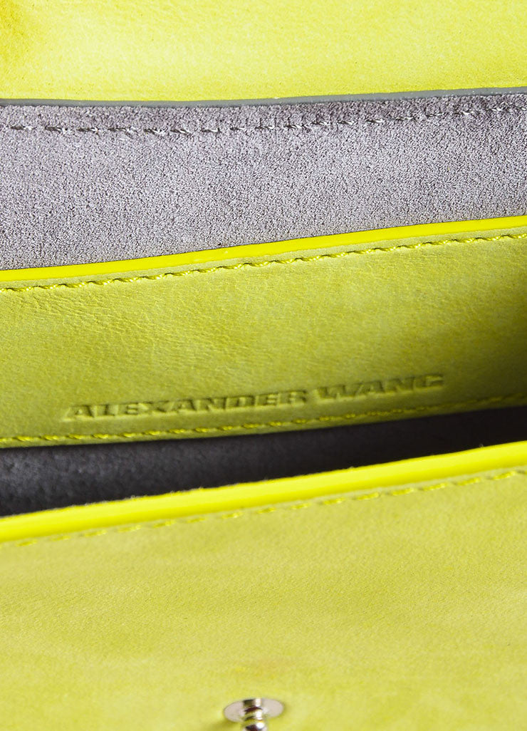 "Alexander Wang Lime Green ""Citrine"" Suede ""Runway Survival Kit"" Bag Brand"
