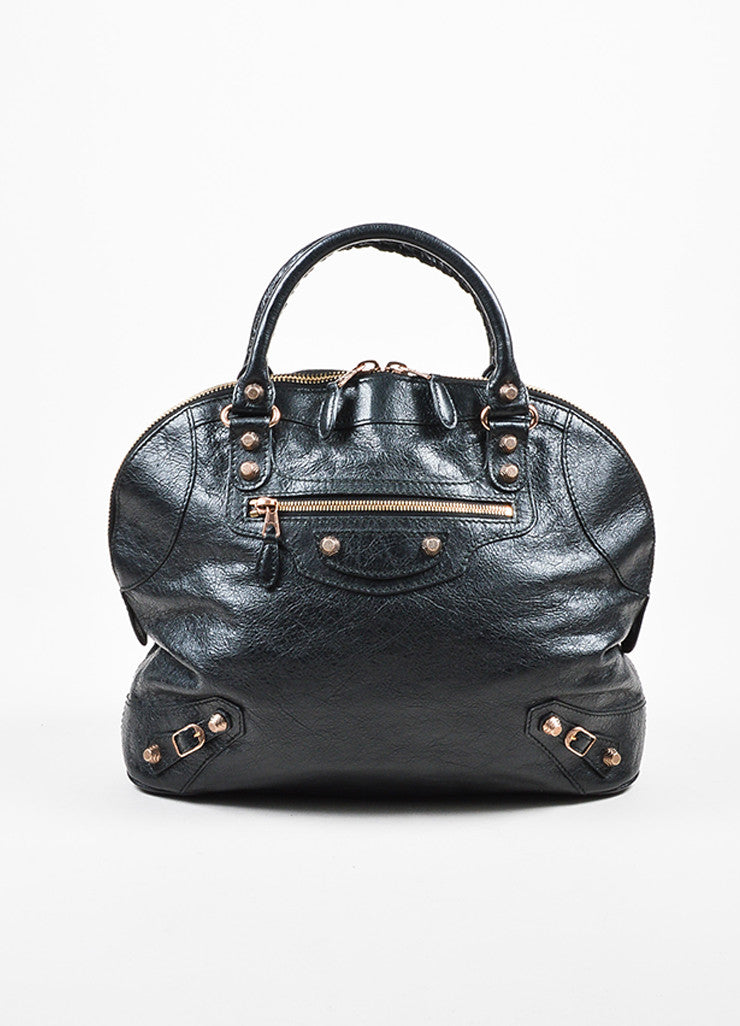 "Balenciaga Black Leather Studded ""Giant 12 Rosegold Thulian Bowler"" Bag Frontview"