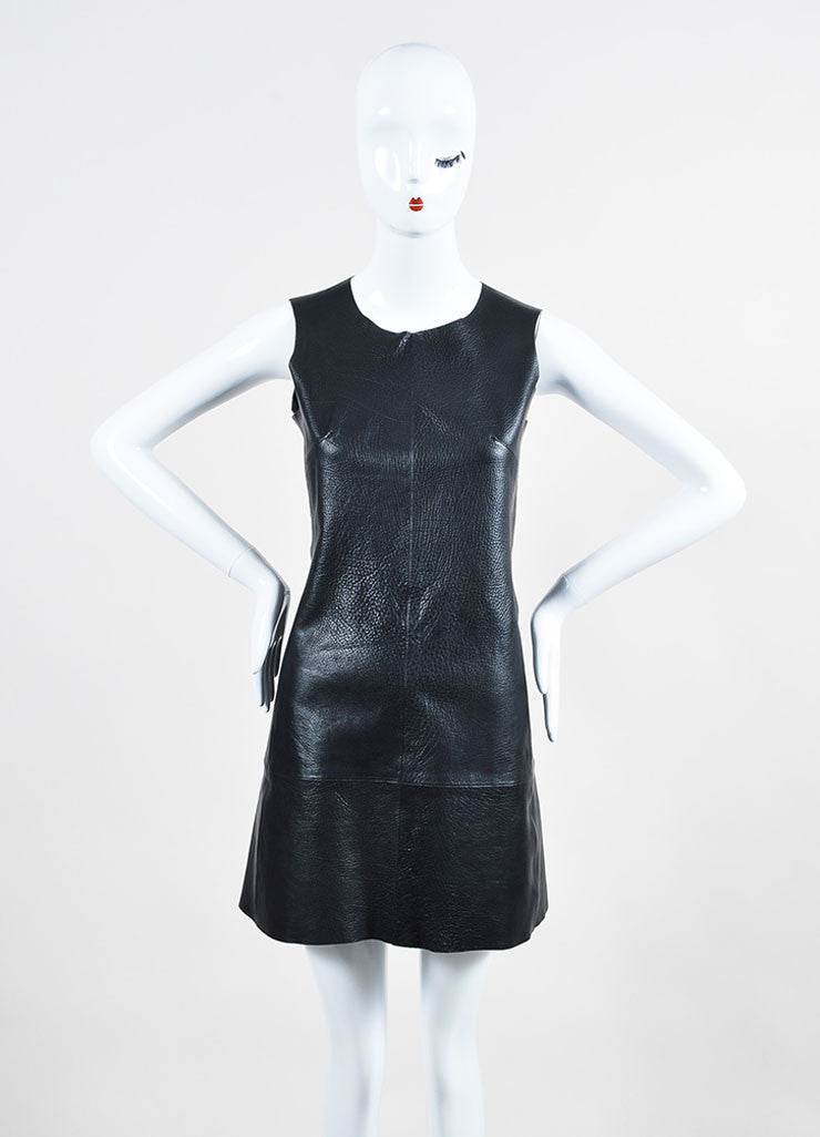 Black Balenciaga Buffalo Grained Leather Sleeveless Paneled Fit and Flare Dress Frontview