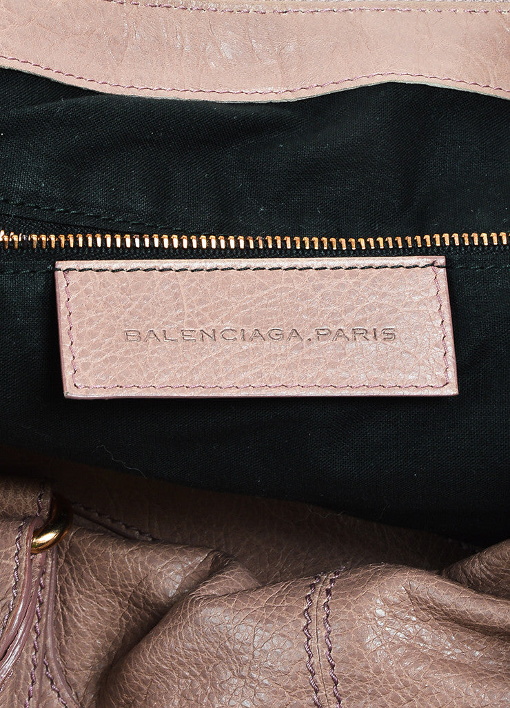 "Balenciaga Mauve Purple Leather Rose Gold Toned Studded ""Giant 21 Work Bag"" Brand 2"