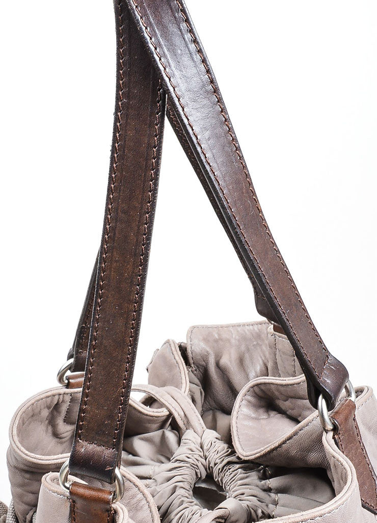 Grey Brunello Cucinelli Leather Expandable Tote Bag Detail 2