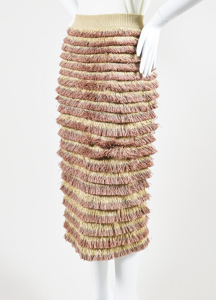 Burberry Prorsum Beige and Pink Knit Tiered Fringe Pencil Skirt Sideview
