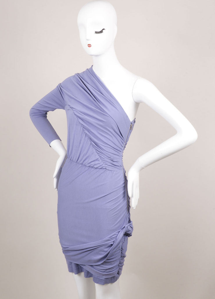 Carven Lilac Stretch Jersey Ruched One Sleeve Dress Sideview