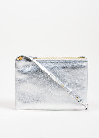 "Silver Celine Metallic Leather ""Large Trio"" Pouch Crossbody Bag Frontview"