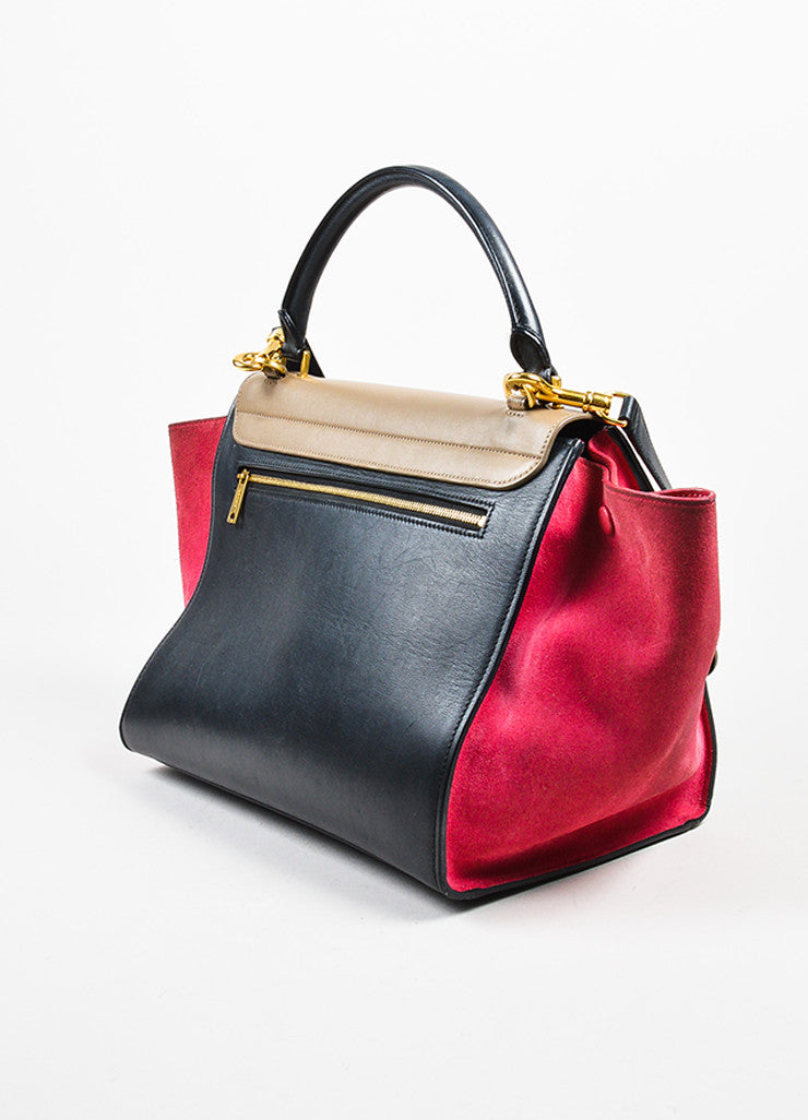"Celine Red, Black, and Tan Suede Leather Tri Color Block ""Medium Trapeze"" Bag Sideview"